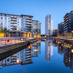 A photo of the waterfront in Leeds city centre.