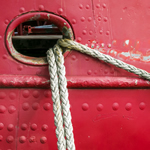 Photo of a boat mooring.